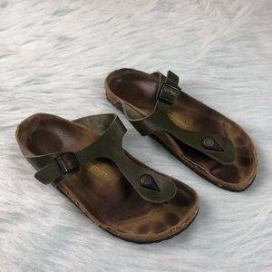 Birkenstock Gizeh Green Leather Strap Sandals 39